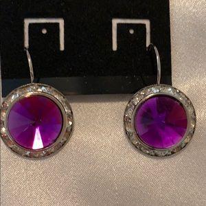 Silver w/Purple Crystal Dangle Earrings